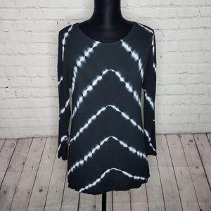 INC International Concepts Black Tie Dye Top Small